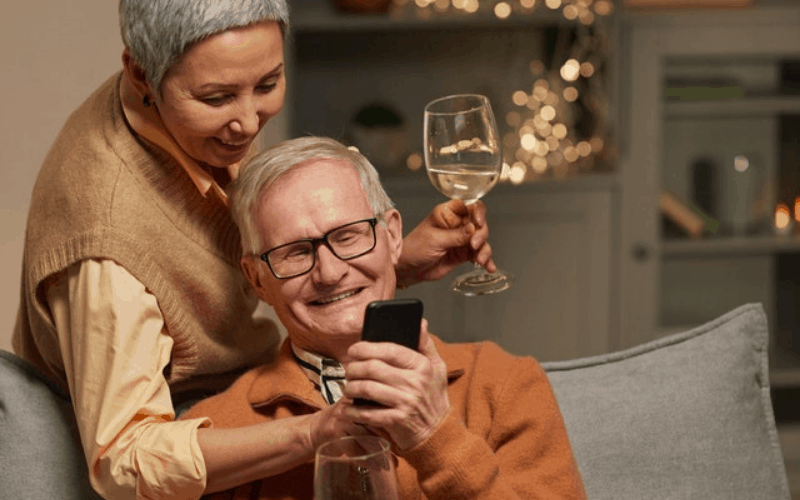 Older Couple being loving and grateful for one another