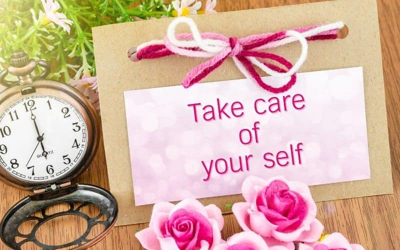 Take care of yourself wrote on a card