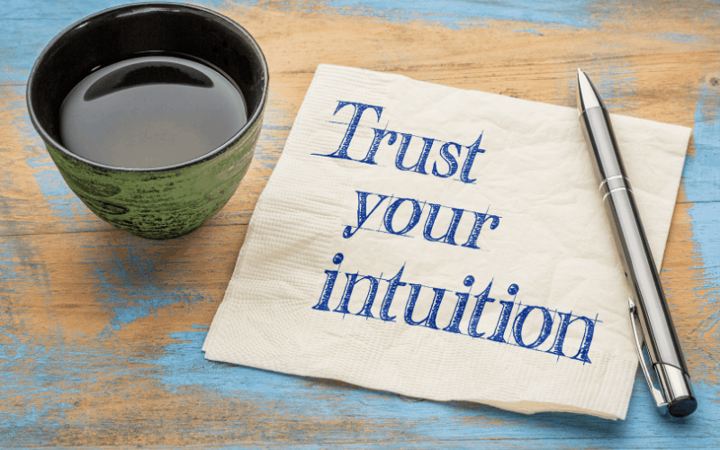 trust your intution wrote on napkin